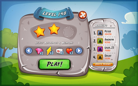 levels: Illustration of a funny cartoon design ui game stone level and control panel, with status, ranking and stars, for app on tablet pc, with spring blue sky background