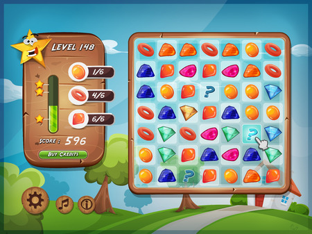 interface: Illustration of a funny graphic example of switcher or clicker game interface design, in cartoon style with grid, buttons, icons, status bar, over spring landscape with house, for tablet pc Illustration