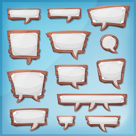 ui: Illustration of a set of cartoon design wooden speech bubbles elements, with sheet paper signs, for comics ads, communication and game ui messages Illustration