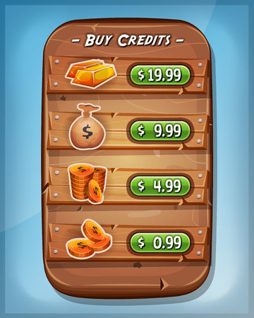dollar bag: Illustration of a funny cartoon design wood panel, with buying credits levels and price options, coins, dollar bag and gold ingot, for game ui app on tablet pc, on blue sky