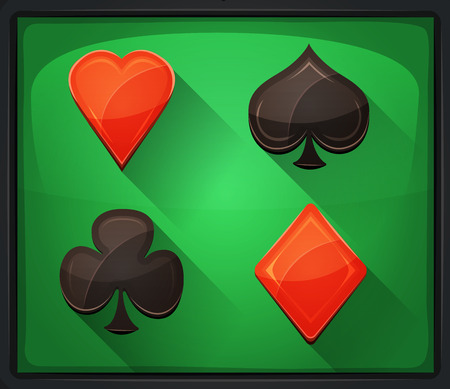 clubs diamonds: Illustration of casino and poker icons, with spades, diamonds, hearts and clubs gambling cards symbols, on green carpet background
