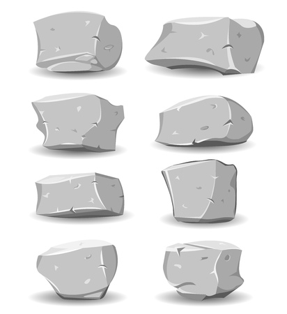 flint: Illustration of a set of cartoon big boulders, rocks and stones of multiple shapes and sizes, for game ui scenics
