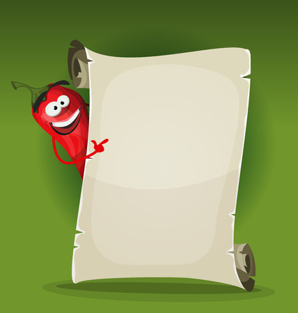 pepper: Illustration of a funny cartoon red hot chili pepper spice character, holding a restaurant menu on a parchment scroll, for hot meals and south american or italian food
