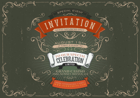 exposition: Illustration of a vintage invitation placard poster background for holidays and special events, with sketched banners, floral patterns, ribbons, text, design elements and grunge texture