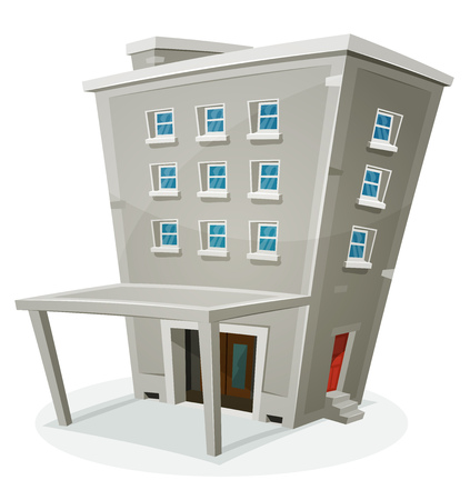 windows home: Illustration of a cartoon stone building house with levels, entrance, hall, porch, windows and back door, with home or office rooms
