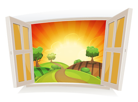 cartoon window: Illustration of an open window on a summer landscape, with sunrise and rural road snaking in pastures and meadows, and harvesting fields