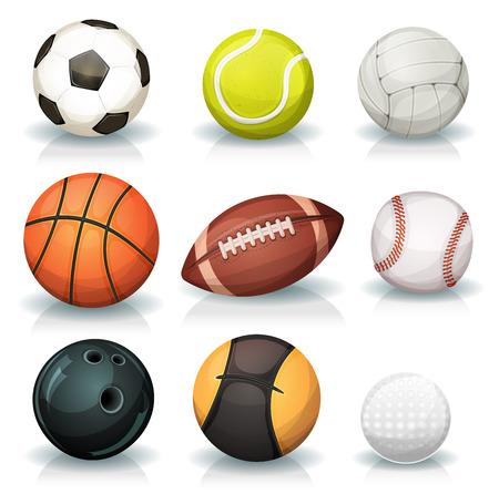 balon de voley: Ilustración de un conjunto de bolas de los deportes clásicos populares y equipos cuencos, para fútbol, ??fútbol, ??rugby, tenis, voleibol, baloncesto, béisbol, golfo, balón medicinal para el ejercicio físico y los bolos Vectores