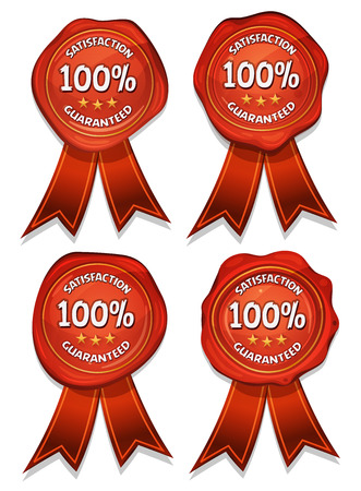 wax glossy: Illustration of a set of glossy and bright quality wax seals, with stars and award ribbons for ads with certificate of quality products and guarantee labels Illustration