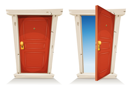 Illustration of a cartoon entry red door closed and opened, on a spring sky background, symbolizing private and public frontier, discovery, paradise or heaven's gate, with door knob and peephole