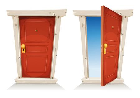 Ilustración de una puerta de entrada de la historieta roja cerrada y abierta, sobre un fondo de cielo de primavera, que simboliza la frontera privada y pública, el descubrimiento, el paraíso o la puerta del cielo, con el pomo de la puerta y mirilla Foto de archivo - 56101643