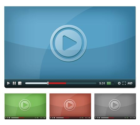 high volume: Illustration of a set of web video player, with play, pause and stop buttons, volume, settings and high resolution icons, for browser and tablet pc Illustration