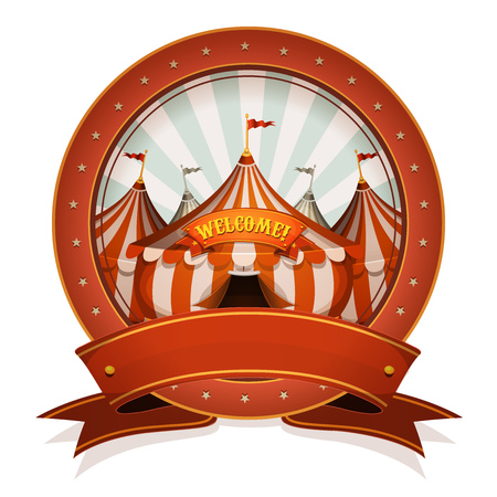 big top: Illustration of a retro and vintage circus poster badge, with marquee and big top, red ribbon, for arts festival events and entertainment background