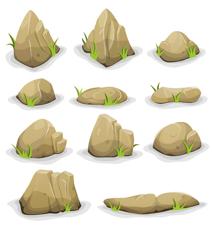 sediment: Illustration of a set of separated cartoon boulders, rocks and stones of various shapes, with blades of grass, for filling your nature landscapes and game ui scenics