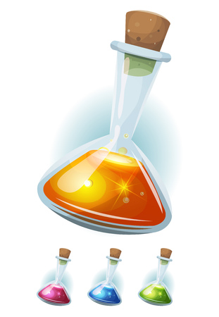 magic potion: Illustration of a booster icon of magic potion elixir inside glass flask, with colorful liquids, for energy weapons and playing resources on game ui Illustration
