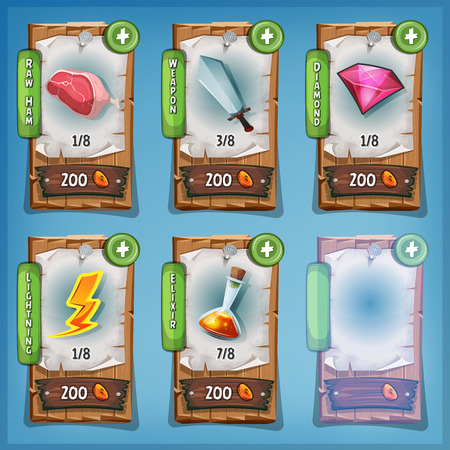 weapon: Illustration of funny cartoon design wood panel, with playing resources icons, food, weapon, magic potion, diamond and buying credits price, for game ui app on tablet pc, on blue sky