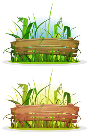 wood grass: Illustration of a cartoon spring rural small wood fence inside grass lawn