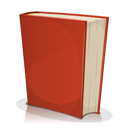 is closed: Illustration of a cartoon standing red covered book with blank cover isolated on white background, for bookstore or library blog showcase Illustration