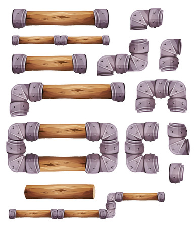 Illustration of a set of graphic wood and metal elements for platform game user interface design, in cartoon style