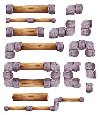 Ilustración de un conjunto de elementos de madera y metal gráficos para el diseño de interfaz de usuario juego de plataformas, en el estilo de dibujos animados