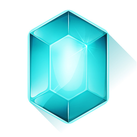Illustration of a glossy and bright cartoon gemstone, blue colored, for jewel imagery and assets in game user interface Illustration