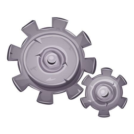 mechanism of progress: Illustration of a cartoon stone and rock gearing set, with big and small clockwork gears made of cogwheel, symbolizing time, work in progress, motion concept and mechanism of ideas Illustration