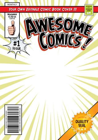 Illustrazione di un libro di fumetti modificabile modello di copertura del fumetto, con stile eroe rivista, titoli e sottotitoli per personalizzare, e codice a barre sbagliato e etichetta