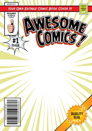 Illustration of a cartoon editable comic book cover template, with hero magazine style, titles and subtitles to customize, and wrong bar code and label Vectores