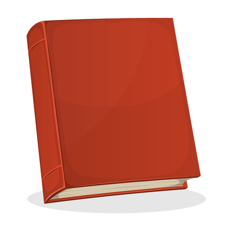 bookshop: Illustration of a cartoon standing red covered book with blank cover isolated on white background, for bookstore or library blog showcase Illustration