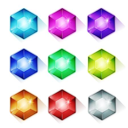 Ilustración de un conjunto de dibujos animados brillante y luminoso gemas piedras, diamantes, minerales, cristales, joyas e iconos activos, para las imágenes de lujo y juego de puzzle ui Ilustración de vector