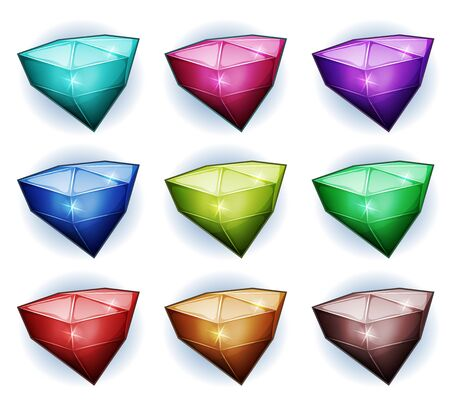 bijou: Illustration of a set of glossy colored gemstones, diamonds, minerals, crystal, jewels and assets icons, for puzzle game ui Illustration