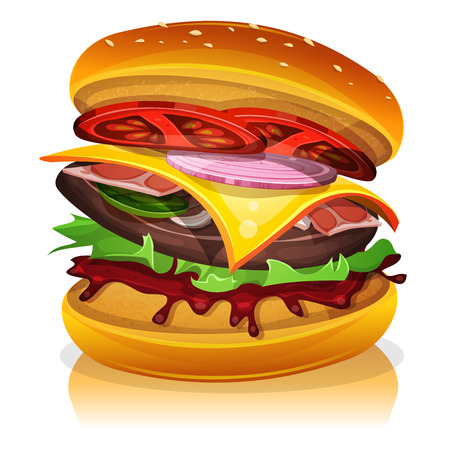 gherkin: Illustration of a design big bacon burger icon, with beef steak, salad, tomatoes and onions for fast food snack and takeaway menu