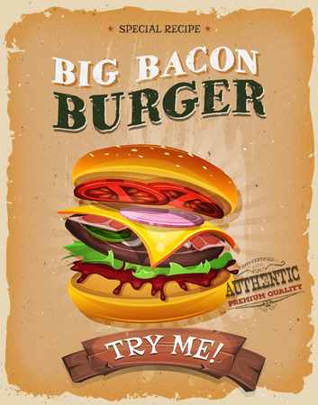 hamburgers: Illustration of a design vintage and grunge textured poster, with big bacon burger icon, for fast food snack and takeaway menu Illustration