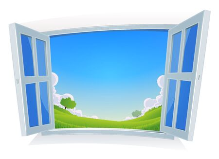 windows home: Illustration of a spring or summer season landscape, seen from home by opended windows with blue sky background