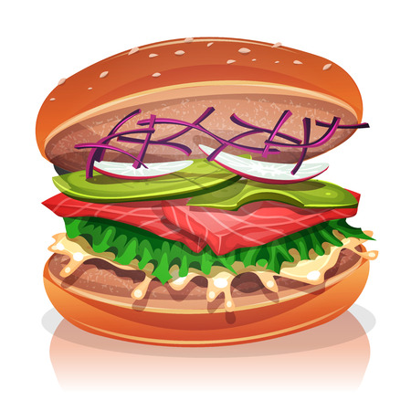 salmon fillet: Illustration of a big appetizing vegetarian burger, with salmon fish fillet, salad, red beet, avocado, radish slices and white sauce, for veggie fast food snack and takeaway menu