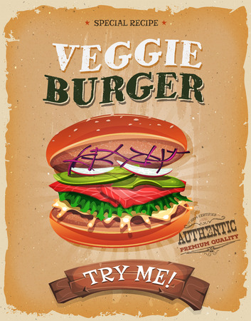 vegetarians: Illustration of a design vintage and grunge textured poster, with vegetarian burger icon, for fast food snack and takeaway menu Illustration