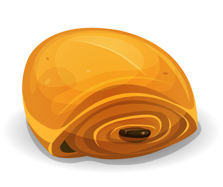 Illustration of an appetizing french chocolatine cake icon, for breakfast menu