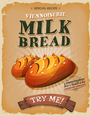 specialty: Illustration of a design vintage and grunge textured poster, with appetizing french milk  bread bread, french specialty icon, for breakfast and bakery food