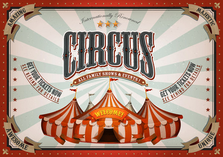 entertainment background: Illustration of horizontal retro and vintage circus poster background, with marquee, big top, elegant titles and grunge texture for arts festival, events and entertainment