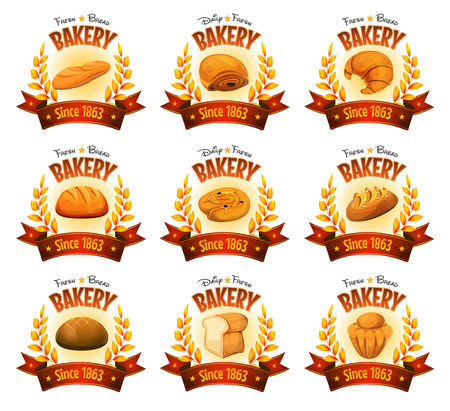 oats: Illustration of a set of bakery and pastry deluxe banners, with red ribbons, gold cereal leaves and various bread icons, brioche, cakes, desserts and sweets
