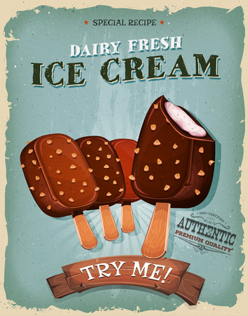 assortment: Illustration of a design vintage and grunge textured poster, with assortment of wooden sticks of ice-cream, for sweets and desserts meals in fast food and takeout menu