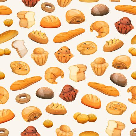 galletas: Ilustración de un fondo sin fisuras panadería y pastelería, con pan y desayuno iconos, BChE, bollería, pasteles, rosquillas, media luna, galletas, postres y dulces