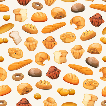 Illustration of a seamless bakery and pastry products background, with bread and breakfast icons, brioche, viennoiserie, cakes, crescent, donuts, biscuits, desserts and sweets