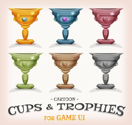 categories: Illustration of a set of funny cartoon gold award winner cups, and prizes in different levels and categories, for game ui best score or success and wealth icons