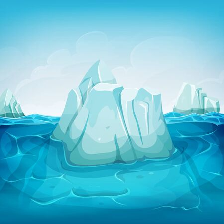 polar environment: Illustration of a cartoon iceberg block floating on deep polar ocean, with water waves behind and blue sky background Illustration