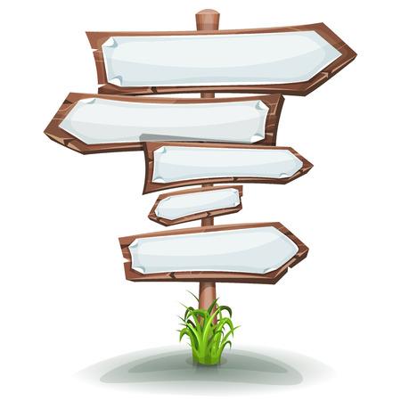 Illustratie van een beeldverhaal houten staak, met weg- en vervoer pijlen en wit leeg papier tekenen voor reclame boodschappen of game ui grafisch menu design