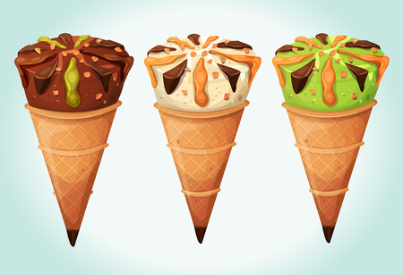 pistachio: Illustration of an appetizing set of cartoon icecream inside wafer cones, with flavors of vanilla, chocolate, mint or pistachio, for glacier menu