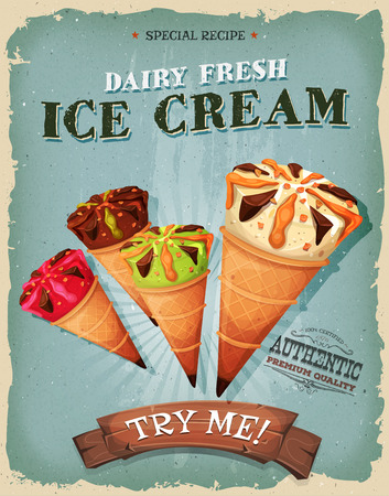 takeout: Illustration of a design vintage and grunge textured poster, with assortment of ice-cream inside wafel cones, for sweets and desserts meals in fast food and takeout menu