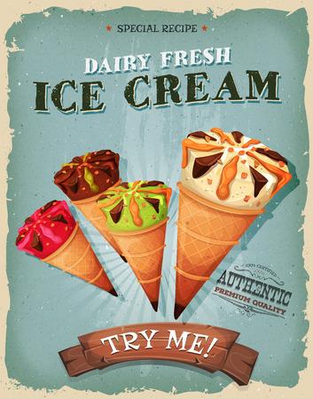 helados caricatura: Ilustración de un diseño de cosecha, y el cartel del grunge con textura, con el surtido de helados en el interior de los conos Wafel, por los dulces y postres en las comidas de comida rápida y el menú de comida para llevar