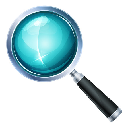 scrutiny: Illustration of a realistic design magnifying glass icon and zoom lens equipment, isolated on white background Illustration