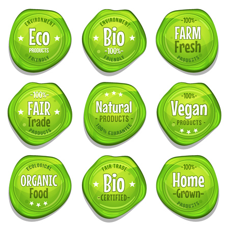 cachet: Illustration of a set of funny bio and ecological green seal stamper, with fair trade, environment friendly, vegan, farm fresh or home grown mentions, for healthy food products Illustration